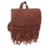 Amerileather Briella Leather Fringe Fashion Backpack