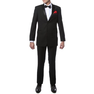 Ferrecci Mens Black Regular Fit Satin Notch Lapel Tuxedo 2-piece Suit