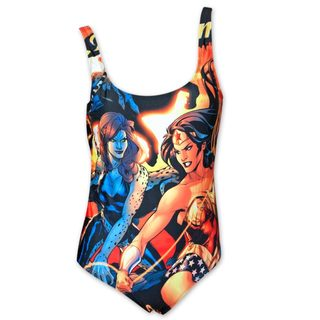 Wonder Woman Comic Book Women's Plunge One Piece Swimsuit
