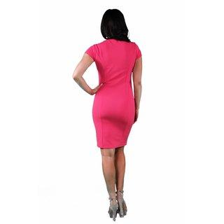 24/7 Comfort Apparel Coral & Black Sheath Dress