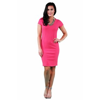 24/7 Comfort Apparel Coral & Black Sheath Dress
