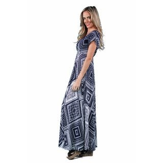 24/7 Comfort Apparel Women's Blue-Cream Rectangle Print Maxi
