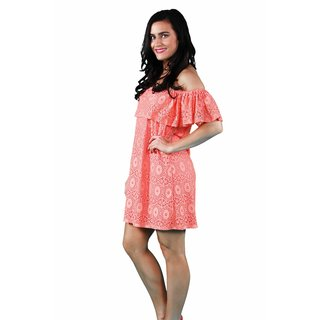 24/7 Comfort Apparel Women's Coral Lace Off Shoulder Dress