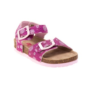 Rugged Bear Toddler Girls' Glitter Chunky Buckle Strap Sandals