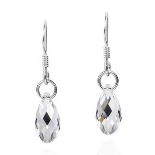 Sparkling Crystal Drop Sterling Silver Dangle Earring (Thailand)