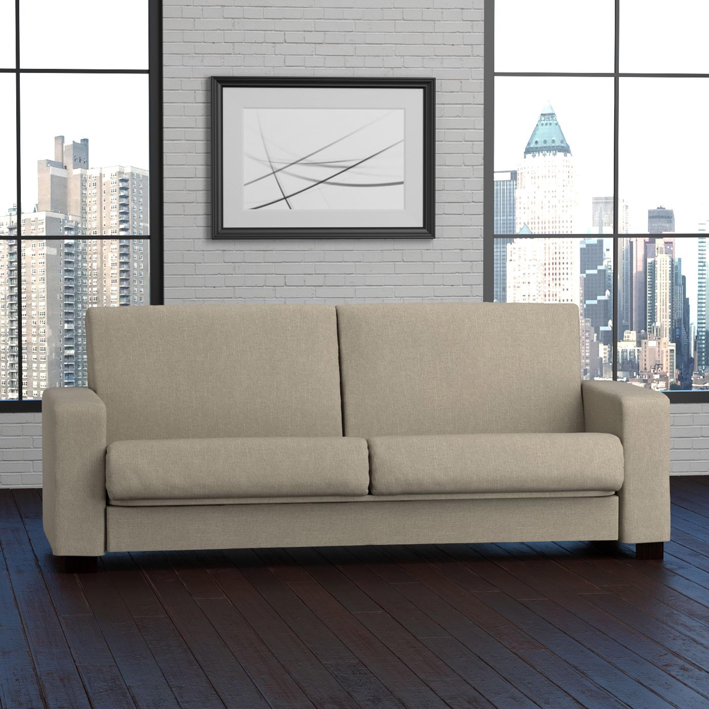 Handy Living Tempo Convert-a-Couch Barley Tan Linen Futon...