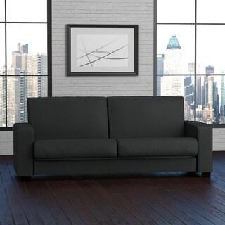 Portfolio Tempo Convert-a-Couch Midnight Black Linen Futon Sleeper Sofa