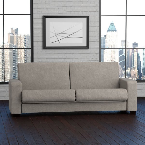 Handy Living Tempo Convert a Couch Dove Grey Linen Futon Sleeper