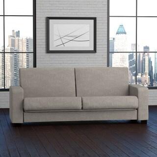 Handy Living Tempo Convert-a-Couch Dove Grey Linen Futon Sleeper Sofa