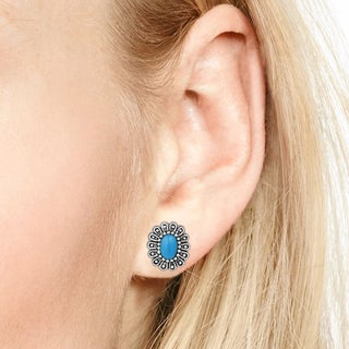 Handmade Vintage Floral Flair Stone Sterling Silver Post Earrings (Thailand) (3 options available)