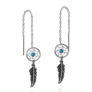 Dreamcatcher Stone Thread Slide .925 Silver Earrings (Thailand)