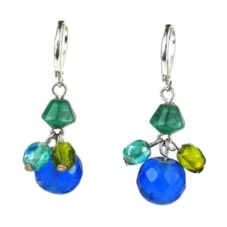 Green and Blue Glass Bead Charm Earrings (India)