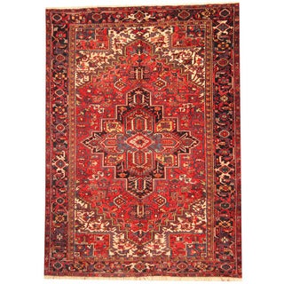 Herat Oriental Persian Hand-knotted 1940's Semi-antique Heriz Red/ Black Wool Rug (9' x 12')