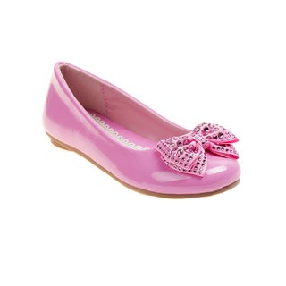 Laura Ashley Girls' Rhinestone Bow Ballerina Flats