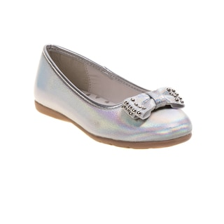 Kensie Girl Holographic Flats with Studded Bow
