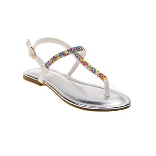 Laura Ashley Girls' Multicolor Bead Sandals