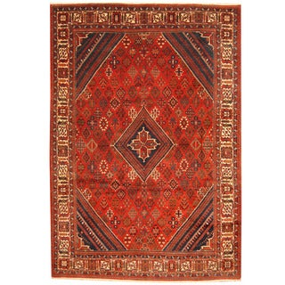 Herat Oriental Persian Hand-knotted 1960's Semi-antique Joshegan Red/ Ivory Wool Rug (8'2 x 12')