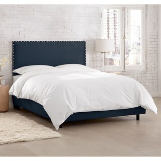 Skyline Furniture Premier Navy Nail Button Border Bed