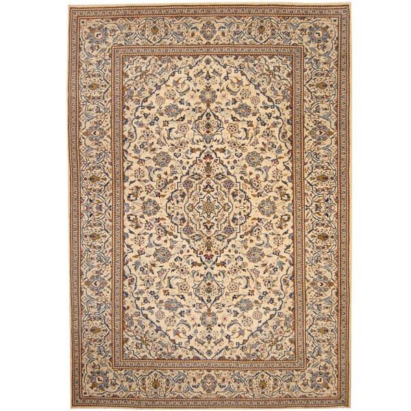 Herat Oriental Persian Hand-knotted 1940s Semi-antique Kashan Wool Rug (8' x 11'7) - 8' x 11'7