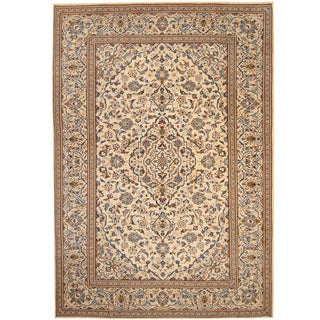 Herat Oriental Persian Hand-knotted 1940s Semi-antique Kashan Wool Rug (8' x 11'7)