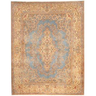 Herat Oriental Persian Hand-knotted 1960's Semi-antique Kerman Blue/ Ivory Wool Rug (8'9 x 11'6)