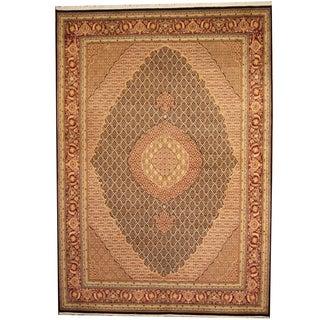 Herat Oriental Pakistani Hand-knotted Tabriz Wool & Silk Rug (9'1 x 12'2)