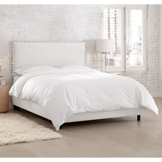 Skyline Furniture Premier White Nail Button Border Bed