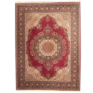 Herat Oriental Persian Hand-knotted Mashad Wool Rug (9' x 12')