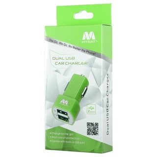 MYBAT 2.1 AMP Dual USB Car Charger for Universal LG HTC Samsung Apple Green