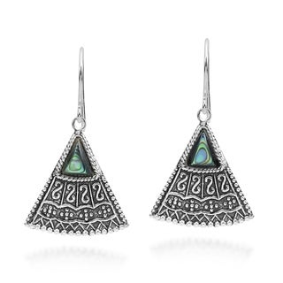 Link to Handmade Balinese Art Triangle Shape Stone Sterling Silver Dangle Earrings (Thailand) Similar Items in Earrings