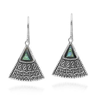 Balinese Art Triangle Shape Stone .925 Silver Earrings (Thailand)