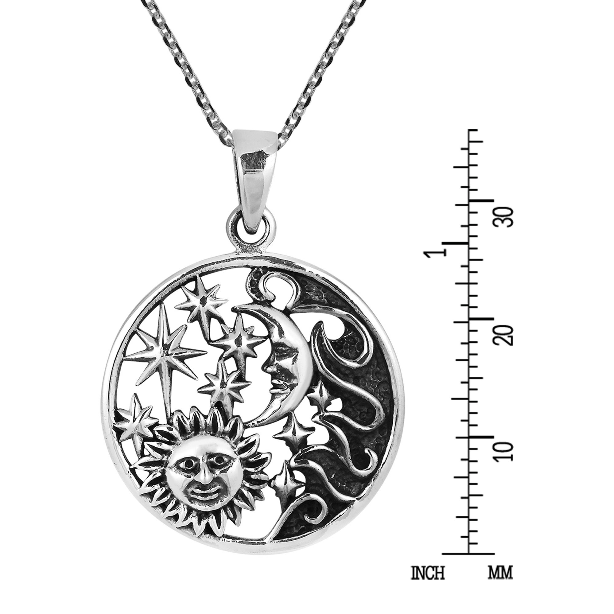 925 Sterling Silver 8 Grams ! Sun  And  Moon  Pendant Brand  New  !!