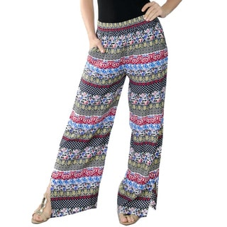 Special One Women's Multi Bohemian Printed Palazzo Pants with Elastic Waistband and Pockets