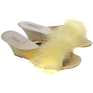 Vecceli Women's Feather Fluffy Wedge Slippers