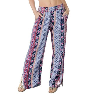 Special One Women's Pink Bohemian Printed Palazzo Pants with Elastic Waistband and Pockets