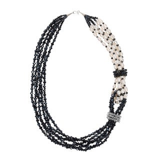 Handmade Midnight Cascades Crystal and Pearl Twist Necklace (Thailand)