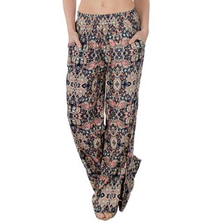 Special One Women's Brown Bohemian Printed Palazzo Pants with Elastic Waistband and Pockets