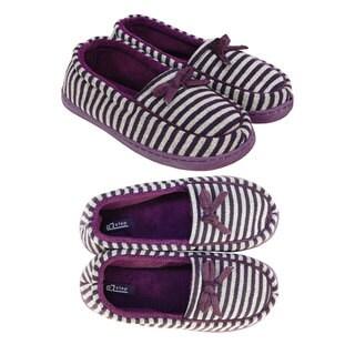 Vecceli Women's Stripped Bow Closed Back/Toe Slippers