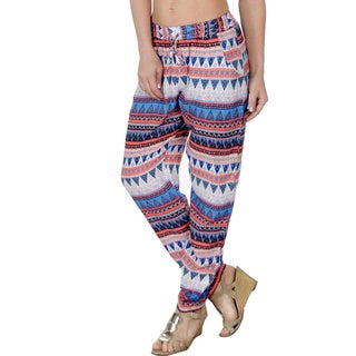 Special One Women's Orange/ Blue Bohemian Print Jogger Pants with Side Pockets