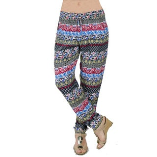 Special One Women's Bohemian Blue/ Pink Print Jogger Pants with Side Pockets
