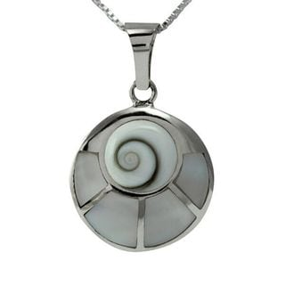 Handmade Sterling Silver Inlay Round Shiva Shell/ White Mother of Pearl Combination Necklace (Thailand)