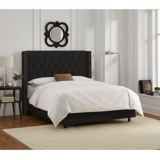 Skyline Furniture Black Velvet Diamond Tufted Wingback Nail Bed