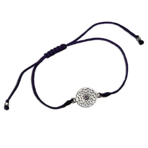 Handmade Crown Chakra Purple Adjustable Charm Bracelet (India)