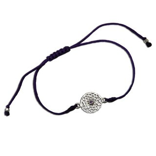 Handmade Crown Chakra Purple Adjustable Charm Bracelet (India)