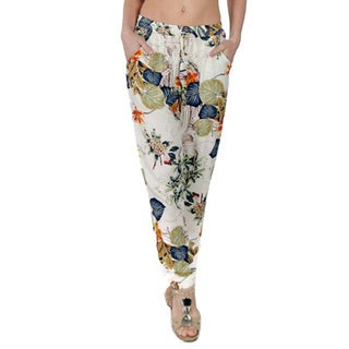Special One Women's Off-white Bohemian Print Jogger Pants with Side Pockets