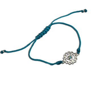 Handmade Throat Chakra Turquoise Adjustable Charm Bracelet (India)