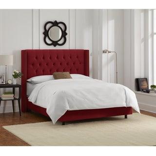 Skyline Furniture Berry Velvet Diamond Tufted Wingback Nail Bed