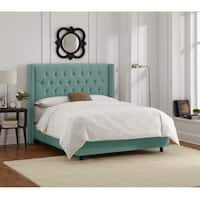 Skyline Furniture Caribbean Velvet Diamond Tufted Wingback Nail Bed