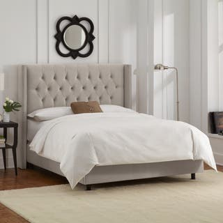 Light Grey Velvet Diamond Tufted Wingback Nail Bed- Skyline Furniture|https://ak1.ostkcdn.com/images/products/11470258/P18426531.jpg?impolicy=medium