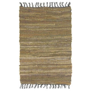 Celebration Multi Chindi Leather Tan Area Rug (4' x 6')